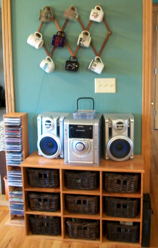 Custom Built Stereo Cabinet with baskets