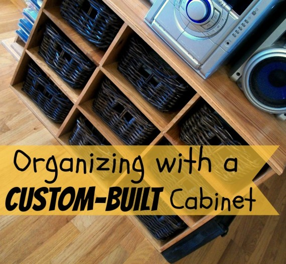 Cabinet with baskets to organize CDs