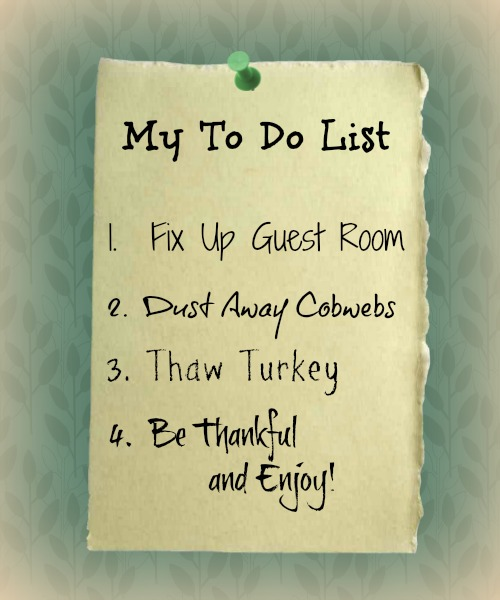 Thanksgiving ToDo List  Apron Strings & other things