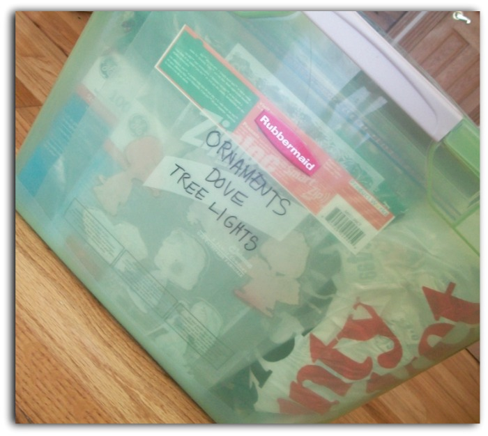 Post Holiday Labeled Bin | Apron Strings & other things
