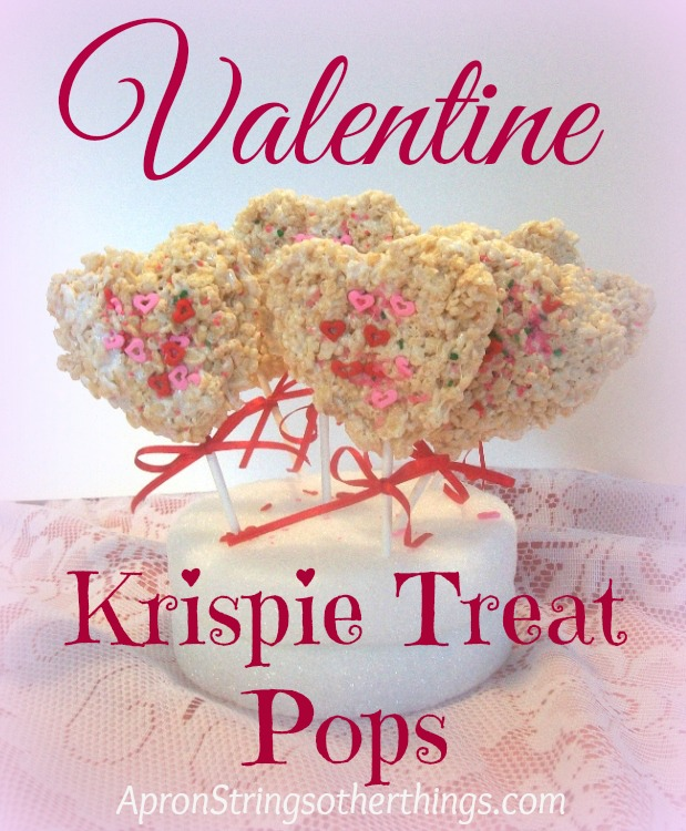 Valentine Krispie Treat Pops Apron Strings & other things