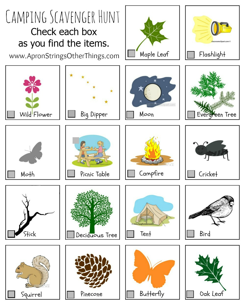 graphic about Camping Scavenger Hunt Printable titled Tenting Pursuits for Youngsters Printables