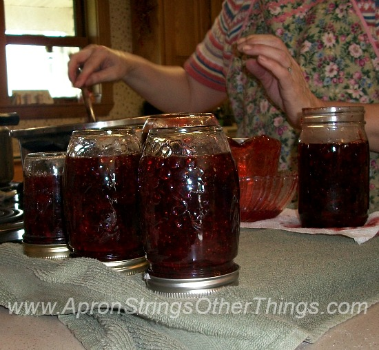 Making Strawberry Jam 8 - Apron Strings & other things
