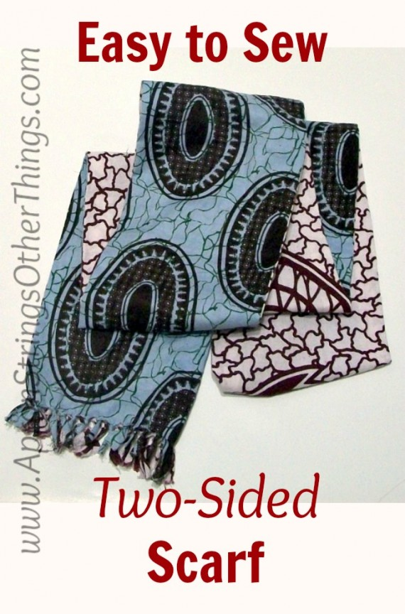 Easy to Sew Two-Sided Scarf title image - Apron Strings other things