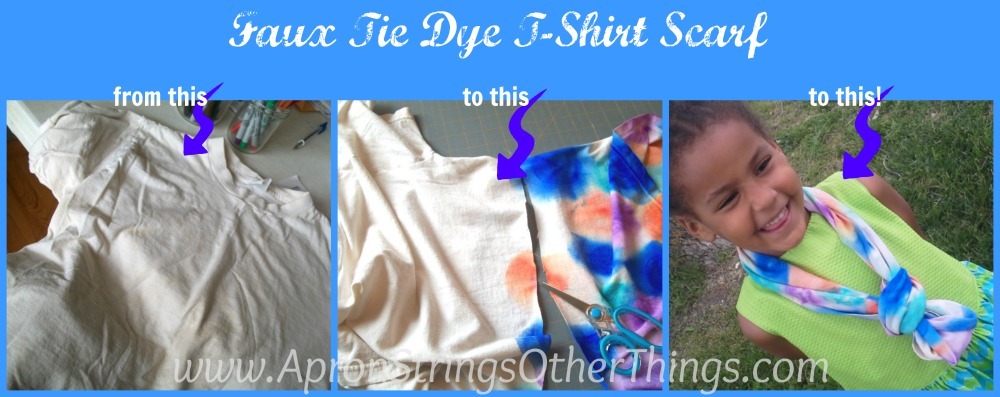 Faux Tie Dye Tshirt Scarf from this to this to this - Apron Strings other things