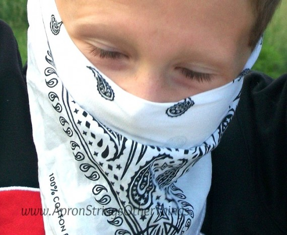 Scarf in the Dress Up Box - masked man - Apron Strings & other things