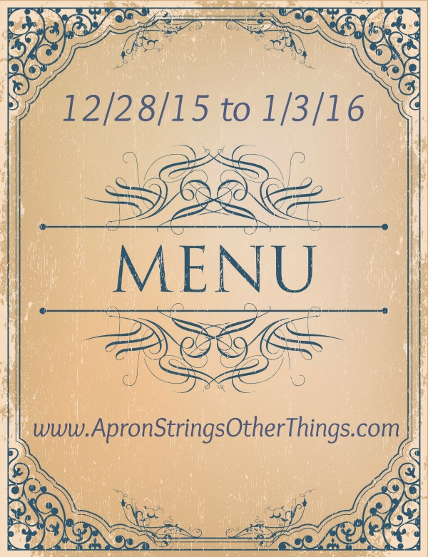 Working Toward Normal Routine – This Week's Menu 12.28.15