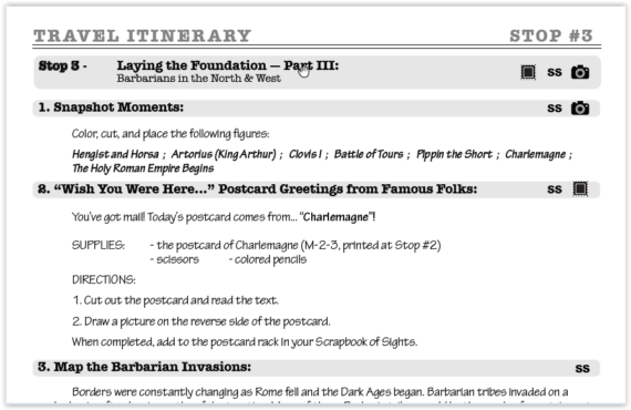 Itinerary for Middle Ages Passport Project Home School in the Woods at ApronStringsOtherThings.com