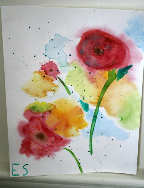 Watercolor Bouquet of Flowers by Esther using Creating a Masterpiece Online Art Lessons at ApronStringsOtherThings.com