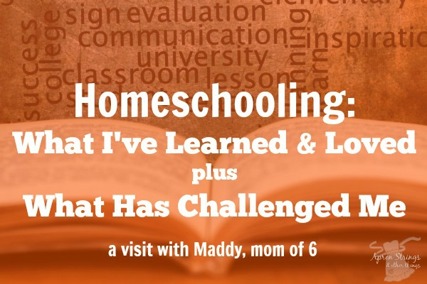 Homeschooling Mom of 6 shares What I've Learned & Loved plus What Has Challenged Me at ApronStringsOtherThings.com