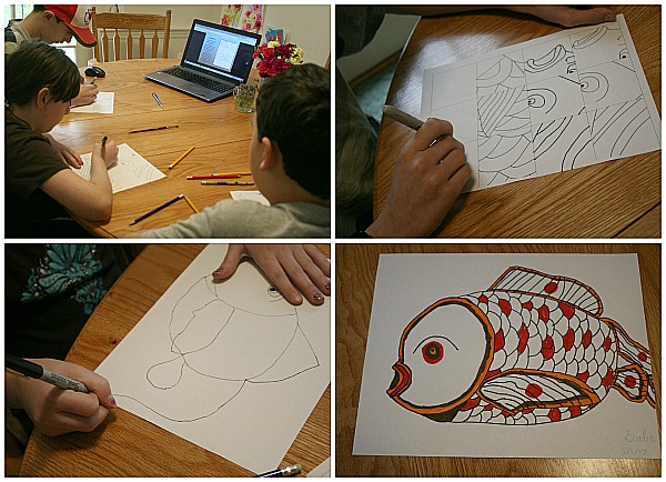 Visit the World through Your Children's Art with ArtAchieve drawing The Japanese Goldfish at ApronStringsOtherThings.com