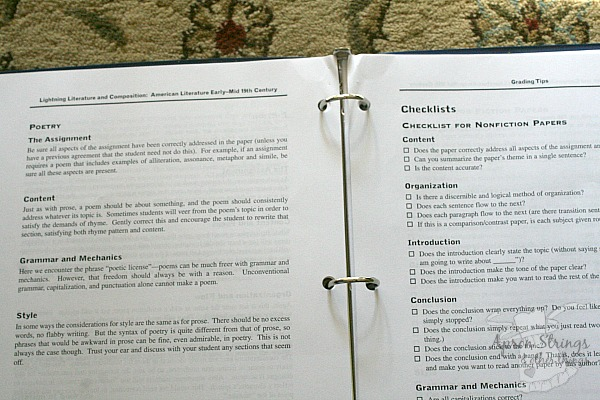 Hewitt Homeschooling High School American Lit Checklists Teacher Manual at ApronStringsOtherthings.com