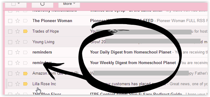 Screen Shot Homeschool Planet email reminders