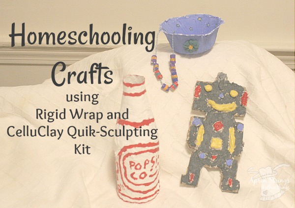 Homeschooling Crafts using Rigid Wrap and CelluClay Quik-Sculpting Kit paper mache at ApronStringsOtherThings.com