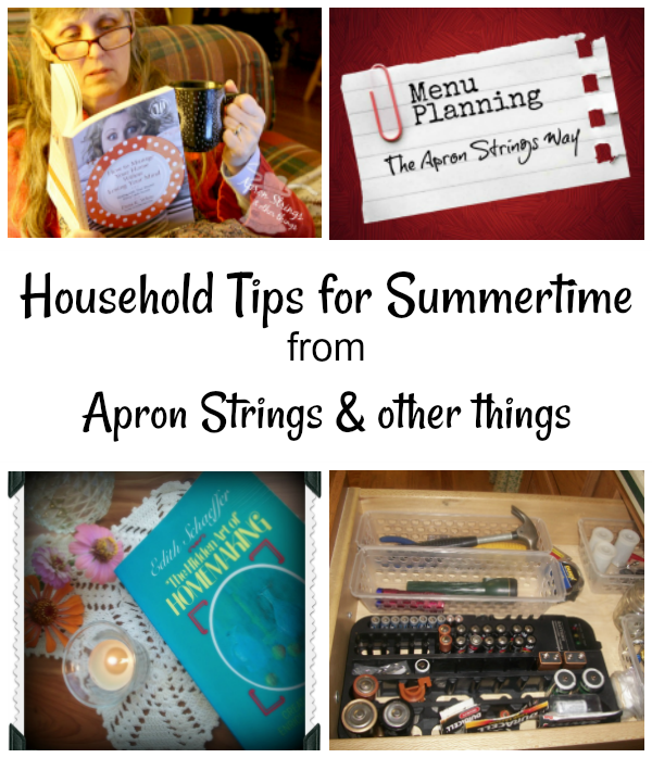 Household Tips for Summertime and Encouraging Hearts & Home Blog Hop at ApronStringsOtherThings.com