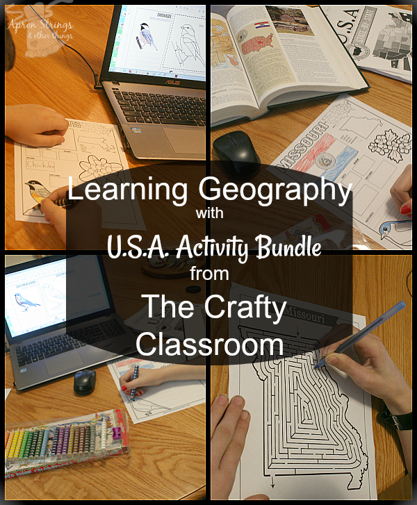 Learning Geography with U.S.A. Activity Bundle The Crafty Classroom at ApronStringsOtherThings.com
