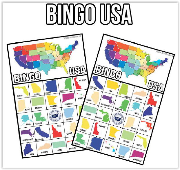 Screen Shot BINGO U.S.A. Activity Bundle at ApronSTringsOtherThings.com