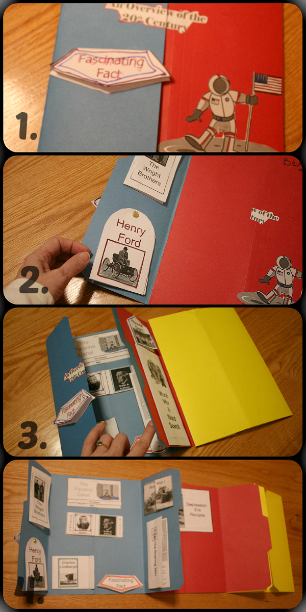 Opening Our Lapbook for An Overview of the 20th Century at ApronStringsOtherThings.com