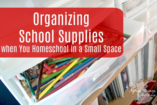 Organizing School Supplies in a Small Space 5 day back to home school series at ApronStringsOtherThings.com