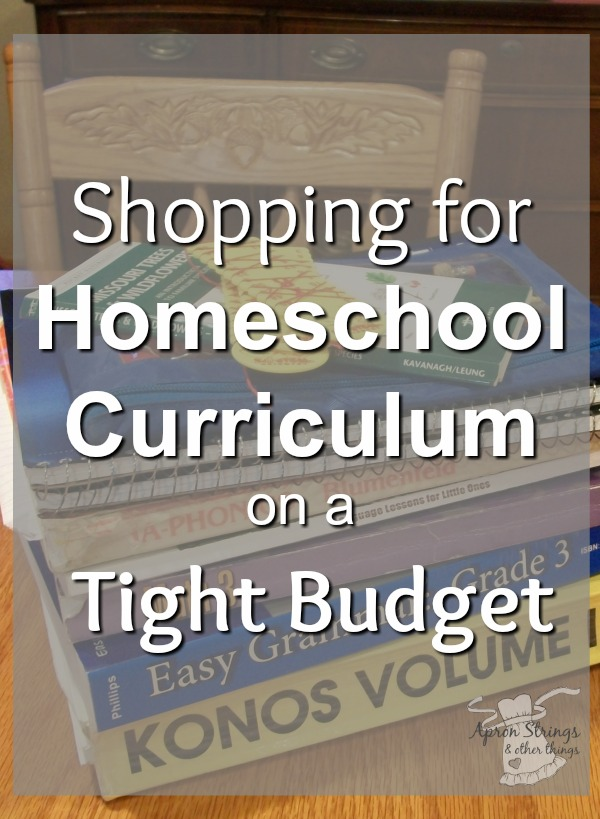Shopping for Homeschool Curriculum on a Tight Budget 5 Day Series Back to Home School at ApronStringsOtherThings.com
