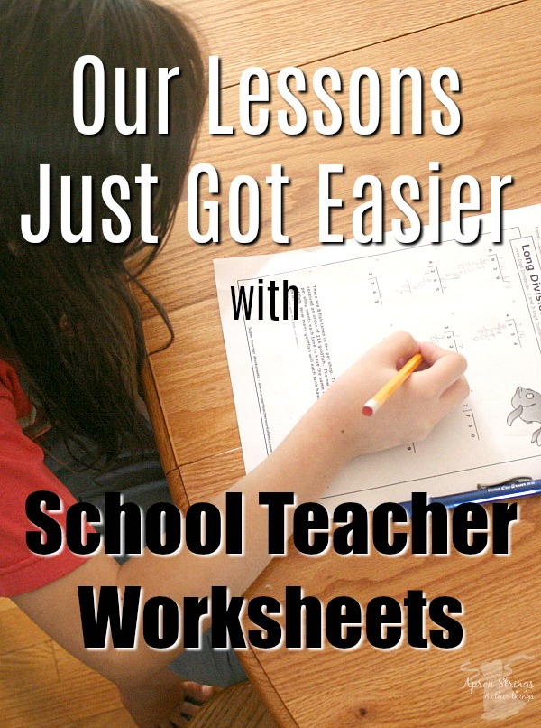 Lessons are easier with School Teacher Worksheets at ApronStringsOtherThings.com