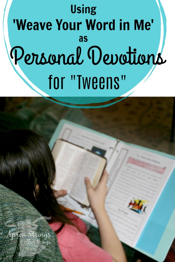Using Weave Your Word in Me as Personal Devotions for Tweens Kid Niche review at ApronSTringsOtherThings.com