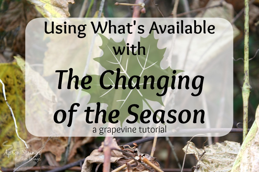 Using What's Available with the Changing of the Season a grapevine tutorial at ApronSTringsOtherThings.com