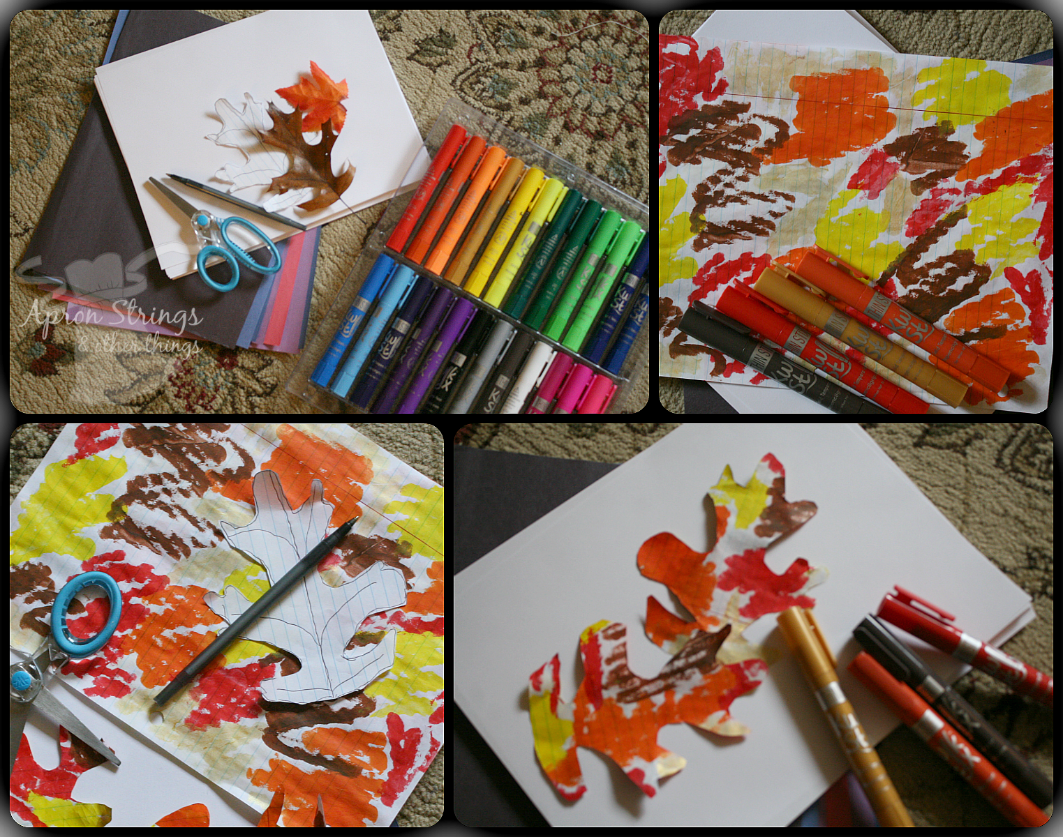 Fall Leaves craft with Thin Stix at ApronStringsOtherThings.com