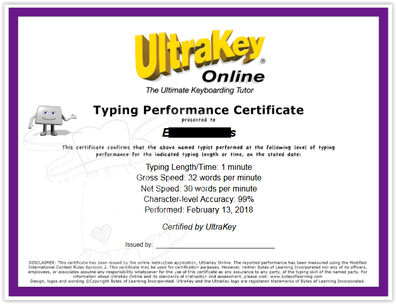 UltraKey Online performance certificate at ApronStringsOtherThings.com