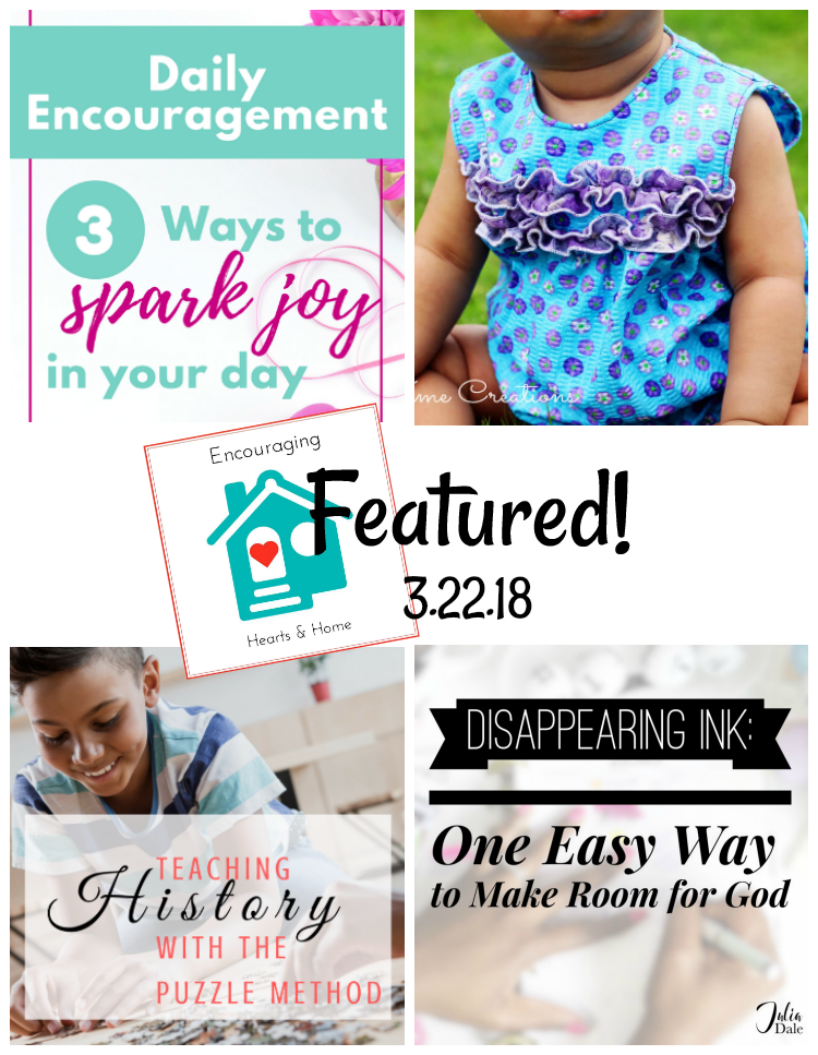 Encouraging Hearts & Home Blog Hop 3.22.18 Featured at ApronStringsOtherThings.com