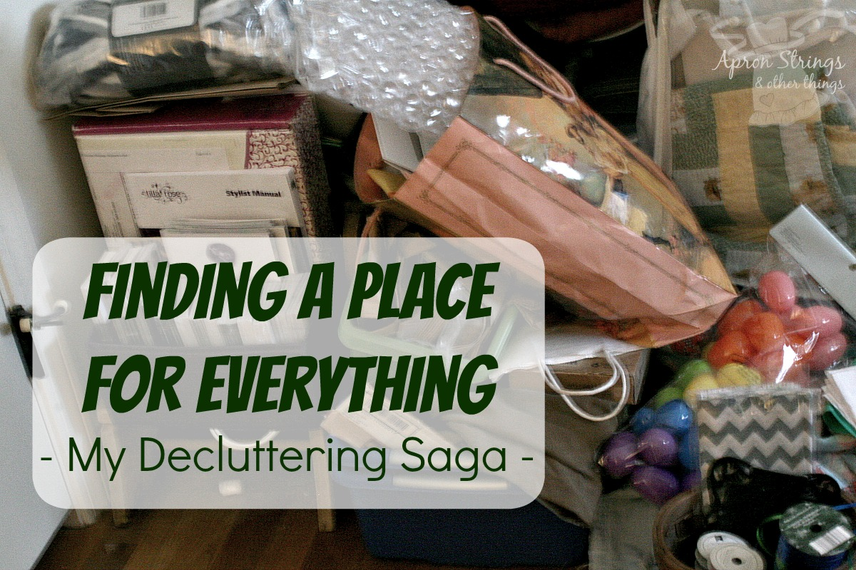 Finding a Place for Everything Decluttering Bedroom and craft supplies at ApronStringsOtherThings.com