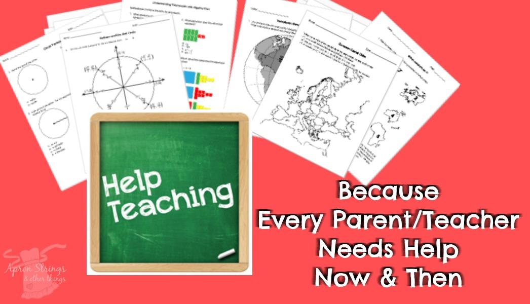 Help Teaching Pro worksheets homeschool at ApronSTringsOtherThings.com