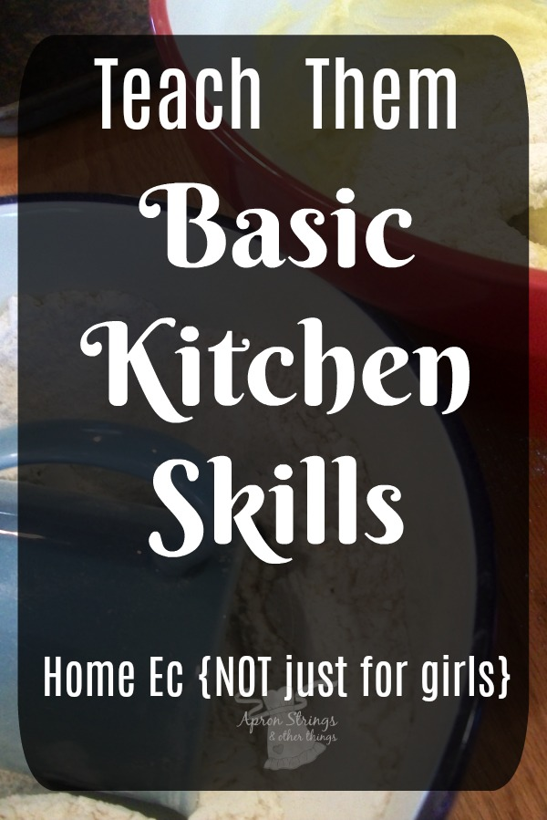 Home Ec NOT just for girls teaching basic kitchen skills homeschooling at ApronSTringsOtherThings.com