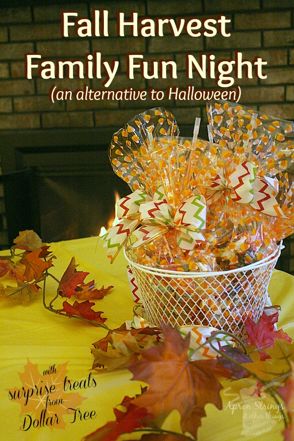 Alternative to Halloween Family Fun Night Fall Harvest game night with treats from dollar tree at ApronStringsotherThings.com #dollartreeholiday