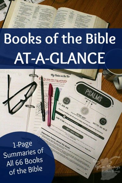 Books of the Bible AT-A-GLANCE one page summaries 66 books at ApronStringsOtherThings.com