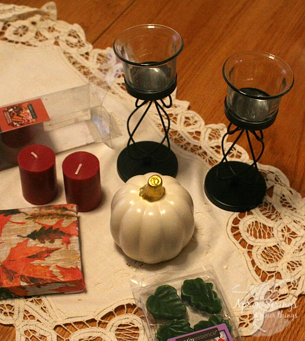 Supplies for Thanksgiving Decoupage Craft Centerpiece Dollar Tree at ApronSTringsOtherThings.com