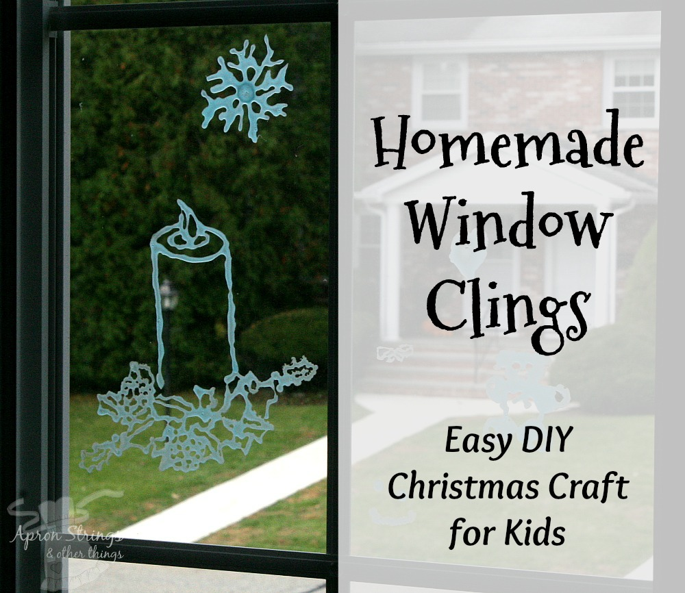 Homemade Window Clings Christmas Candle at ApronStringsOtherThings.com glue and food coloring