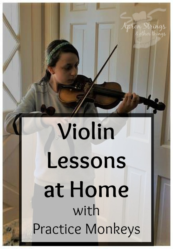 Learn to Play Violin at Home with Practice Monkeys Online Classes at ApronStringsOtherThings.com