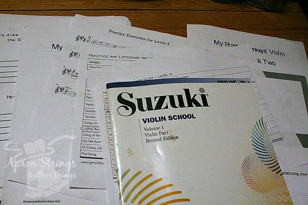 Practice Monkeys Suzuki Violin at ApronStringsOtherThings.com
