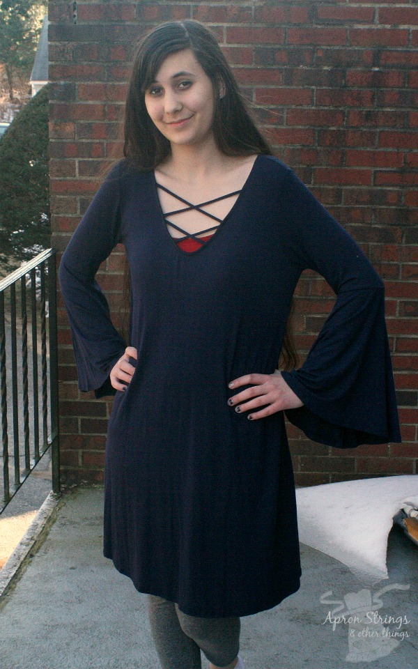 Riverside Clothing Bell Sleeve Laced Front Navy Dress at ApronStringsOtherThings.com