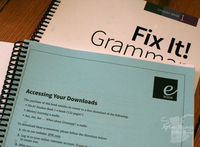 IEW Fix It! Grammar book one access download at ApronStringsOtherThings.com