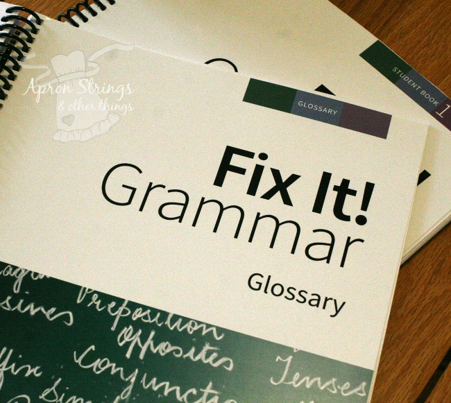 IEW Fix It! Grammar glossary book one at ApronStringsOtherThings.com