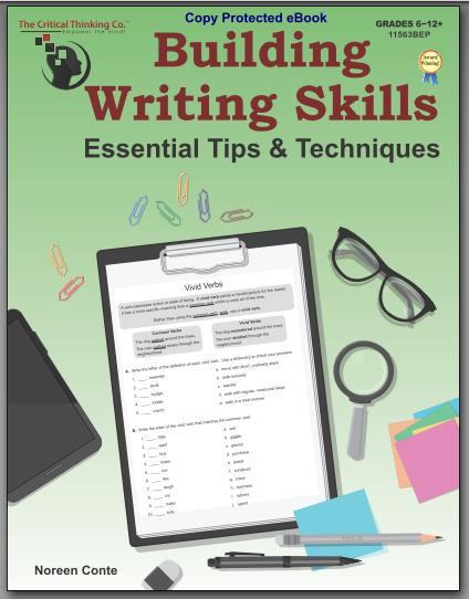 Building Writing Skills from The Critical Thinking Co digital workbook at ApronStringsOtherThings.com