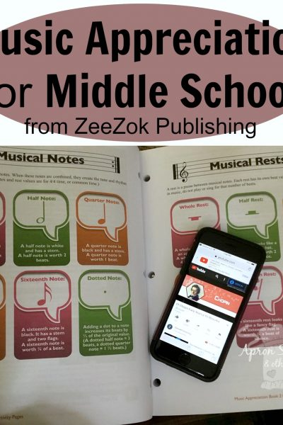 Music Appreciation for Middle School from ZeeZok Publishing a review at ApronStringsOtherThings.com