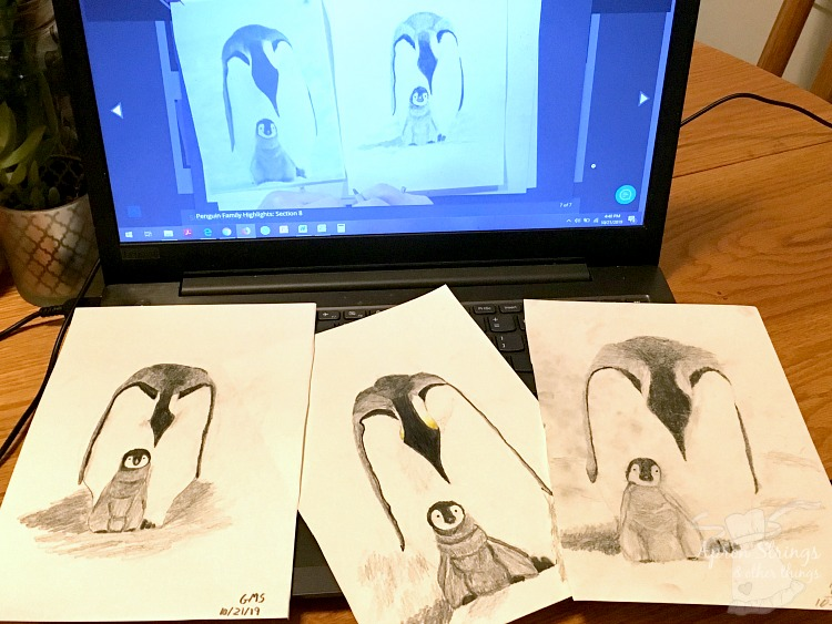 drawing class homeschool art penguins at ApronStringsOtherthings.com