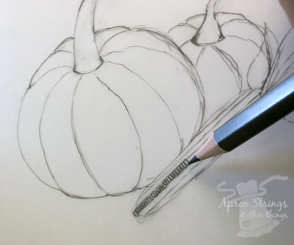 drawing lessons sketch pumpkins at ApronStringsOtherThings.com