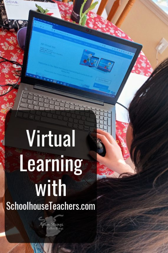 Virtual Learning with SchoolhouseTeachers.com homeschool curriculum review at apronstringsotherthings.com