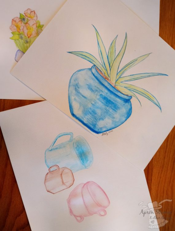 artistic pursuits watercolor pencil creations at apronstringsotherthings.com