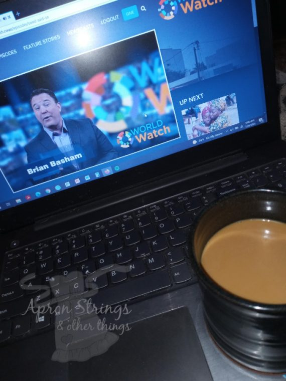 morning coffee and world watch news at apronstringsotherthings.com